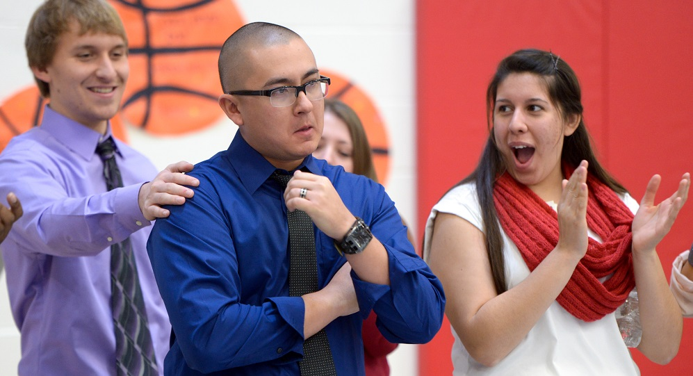 Sahuarita teacher surprised with Milken Educator Award Christopher-Laughland-reactionHP