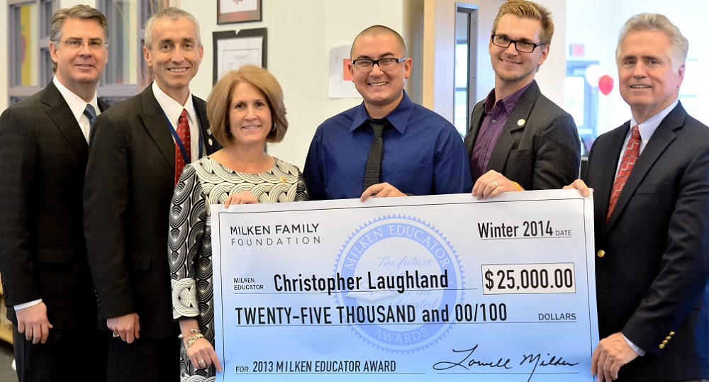 Sahuarita teacher surprised with Milken Educator Award Christopher-Laughland-with-Milken-EducatorsHP