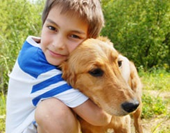Echo students to study for their Mutt-i-grees boy-hugging-dog2Inside