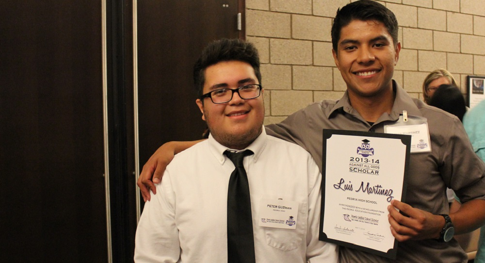 "From Left To Right: Against All Odds Scholarship Recipients Pedro ""Peter"" Guzman And Luis Martinez From Peoria High School. Photo Courtesy Of Peoria Unified School District"