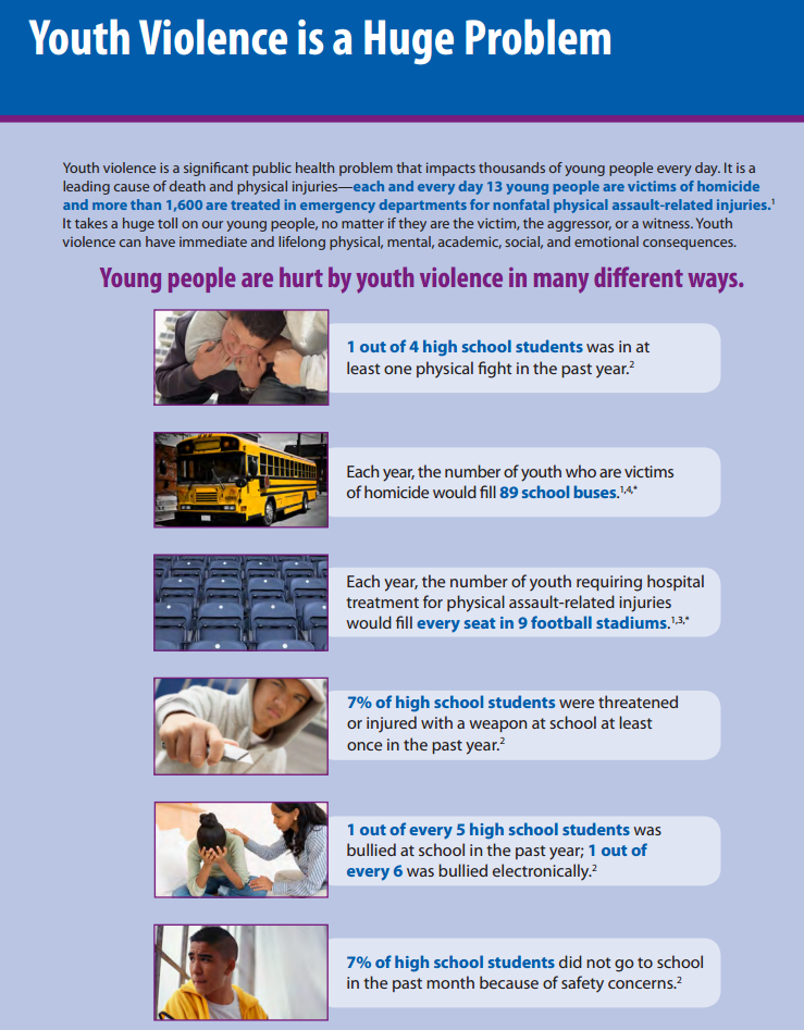 Creating 'safe' school cultures is key to preventing bullying, violence CDCYouthViolenceGraphic