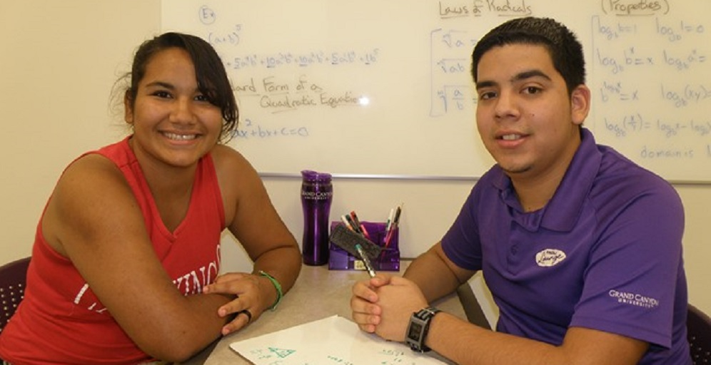 Maribel Martinez, A Junior At Alhambra High, And Juan Villegas, A Tutor In GCU's Learning Lounge, Both Have Benefited From The University's Free, After-school Tutoring Program. Photo Courtesy Grand Canyon University News Bureau