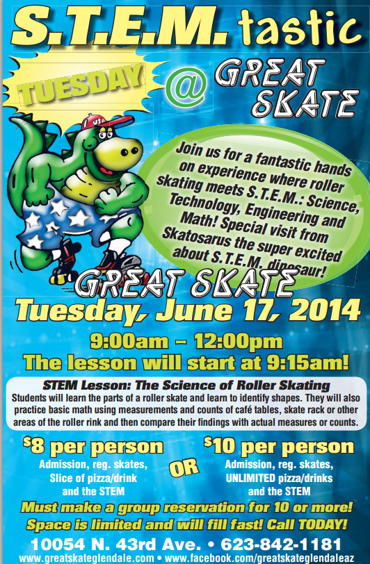Summer STEM-Tastic Day at Great Skate STEMGreatSkateInside