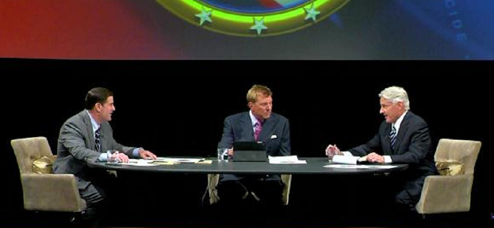 Arizona Candidates For Governor Doug Ducey And Fred DuVal Discuss Education Issues At A Debate Sunday Hosted By Six Education Groups And Moderated By Fox 10 News' John Hook. Photo Courtesy Fox 10 News