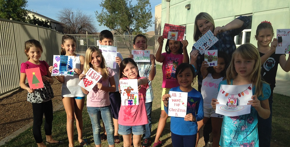 Power Ranch Elementary School Kids Club Members Have Made More Than 200 Cards To Send To Soldiers This Holiday Season And Hope To Complete 500 By The End Of The Week. Photo Courtesy Of Higley Unified School District