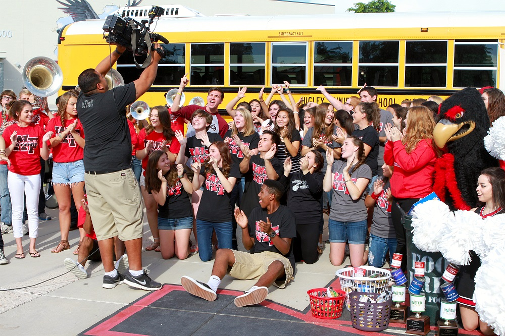 Students At Williams Field High School Celebrate The Launch Of The Season's 'Stuff The Bus' Campaign – An Effort To Collect Nonperishable Food For The United Food Bank. Photo Courtesy Higley Unified School District