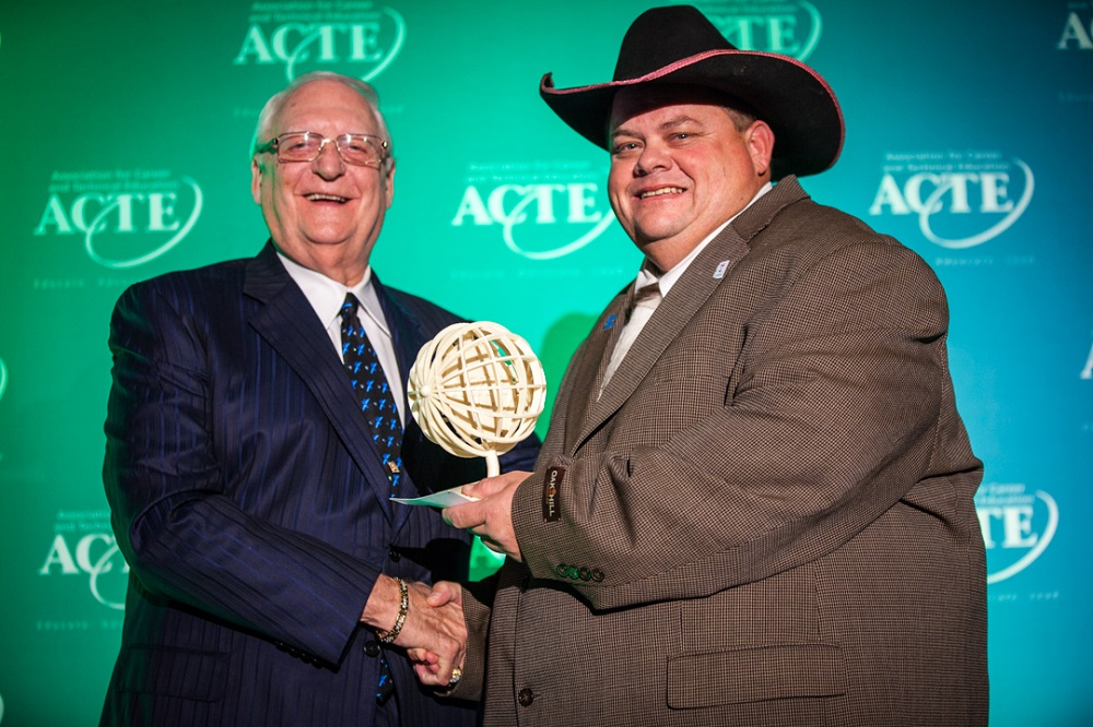 Arizona teacher honored as 2015 ACTE Teacher of the Year ClydeMcBrideWithAwardHP2