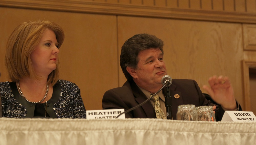 Rep. Heather Carter (R-15), A House Education Committee Member For Years, And Sen. David Bradley (D-1), President Pro Tempore Of The Senate And An Education Committee Member For Years Discuss The Budget, Education And Standards During A Legislative Workshop In Mid-November. Photos Courtesy Mike Barcia/Arizona School Boards Association