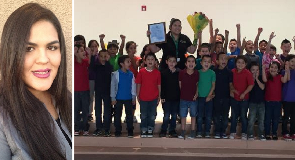 Raquel Tapia And Her Students At The Assembly After She Was Named Arizona 2014 English Language Learner Teacher Of The Year.