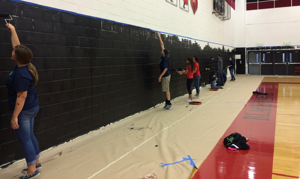 Students Paint At Williams Field High School During A Make A Difference Day Event In November.