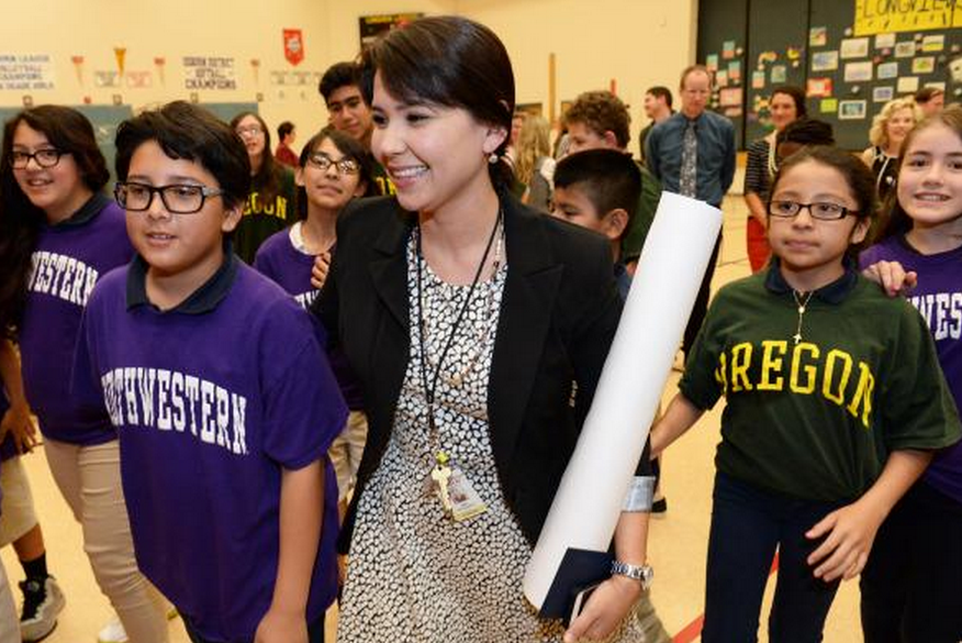 Osborn master teacher receives Milken Educator Award AnaGutierrezAndStudents