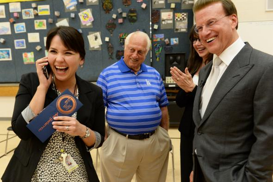 Osborn master teacher receives Milken Educator Award AnaGutierrezPhoneCall