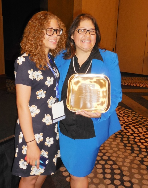 National award presented to former Alhambra school board member LizSanchezAndDaughterAwardInside