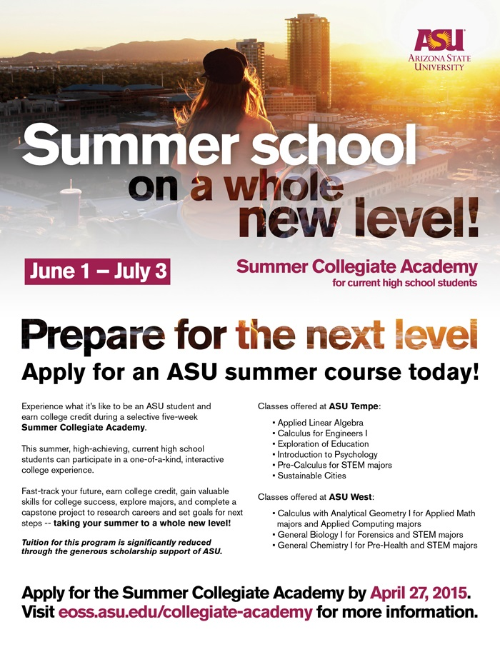 ASU, ASU West offer summer programs for high school students SCA_EFlyer
