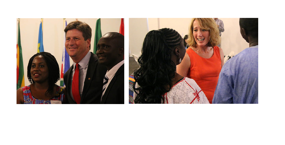 Phoenix Mayor Greg Stanton Poses For A Photo With Mandela Washington Fellows Emily Rubooga Of Uganda (left) And Sallieu Timbo Of Sierra Leone (right). IREZX CEO Kristin Lord Mingles With The Fellows At Their Closing Ceremony In Phoenix. Photos Courtesy Adrianna Olvnicek