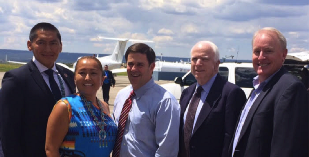 From Left To Right: State Sen. Carlyle Begay; Jolene Begay, Intel Module Engineering Technician; Gov. Ducey, Sen. McCain, Ken Quartermain Jr., Science Foundation Arizona's STEM Network Director, Announce The Code Writer Initiative In Window Rock On Friday, Aug. 14, 2015. Photo Courtesy Science Foundation Arizona