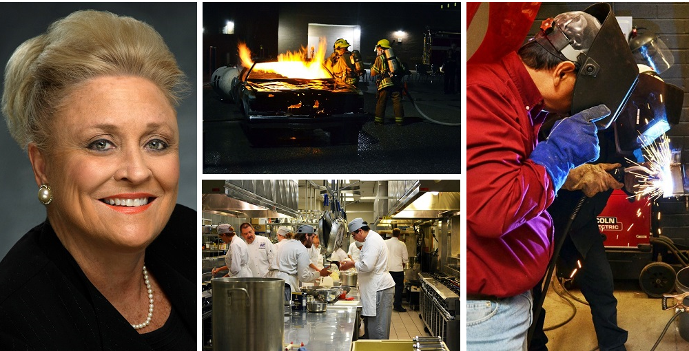 Dr. Sally Downey, Superintendent Of The East Valley Institute Of Technology, And Students In The Fire Science, Welding Technology And Culinary Arts And Commercial Baking Programs At EVIT. Photos Courtesy Of EVIT