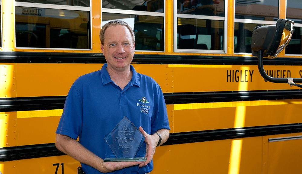 Higley Unified School District Director Of Transportation Josh Crosby Received The 2015 Student Transportation Professional Of The Year Award From The Transportation Administrators Of Arizona. Photo Courtesy Higley Unified School District