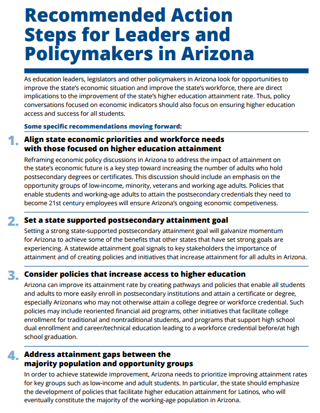 College Success Arizona brief shows need to raise certificate, degree attainment RecommendedActions1