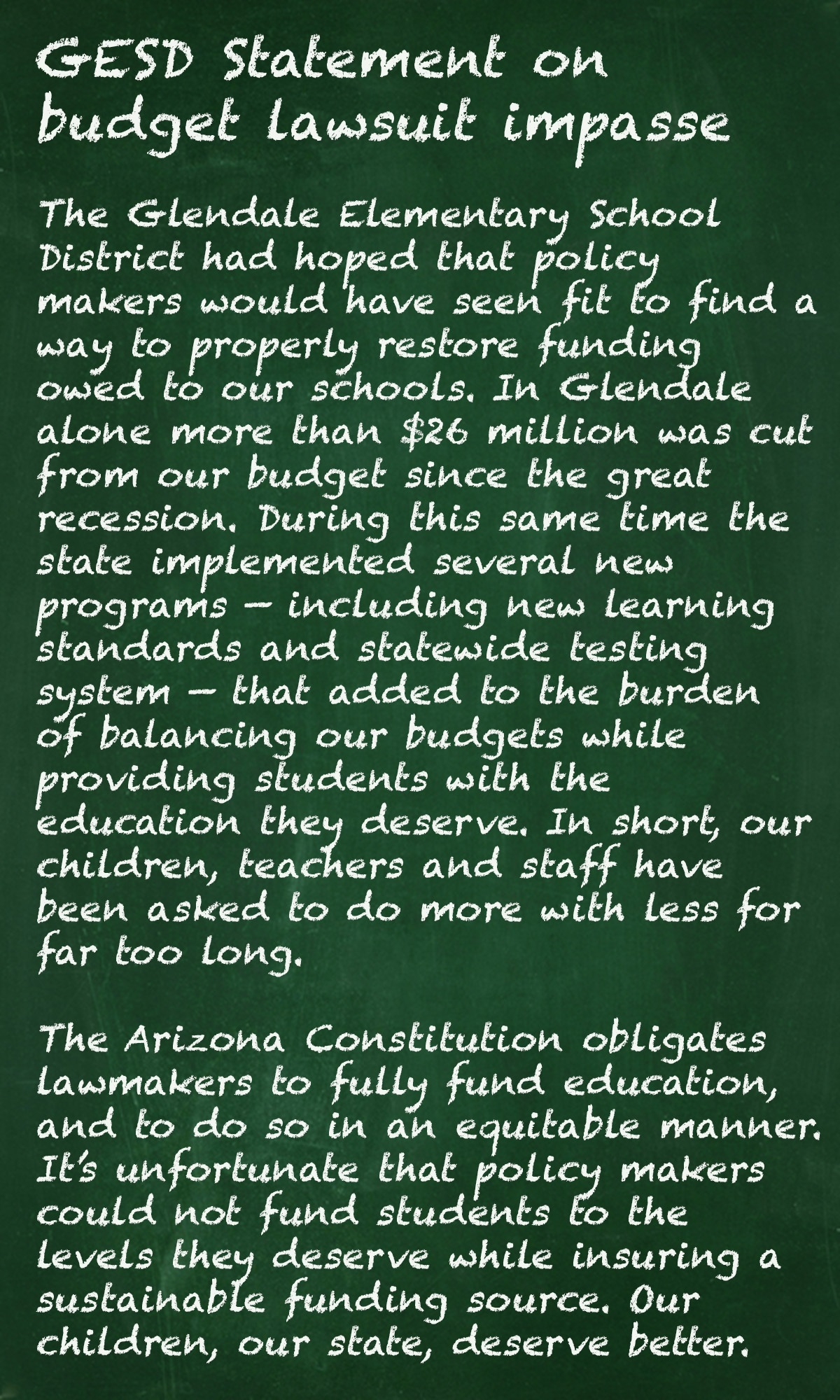 Impasse declared in public school inflation funding lawsuit Updated-GESDStatementGraphic