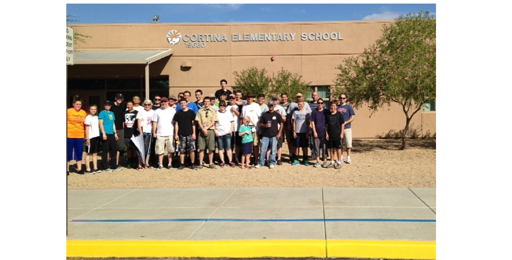 Higley High Senior Westley Atkin Organized Volunteers To Paint And Refresh Areas Of Higley Unified School District's Cortina Elementary School In Gilbert In Time For The New School Year.