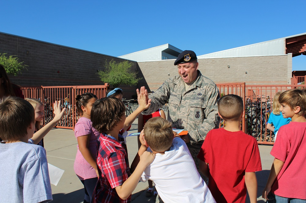 Desert Harbor Elementary School Students Visit With A Guest During Their Walk Of Honor Observance Of 9/11 In 2014. Photo Courtesy Peoria Unified School District