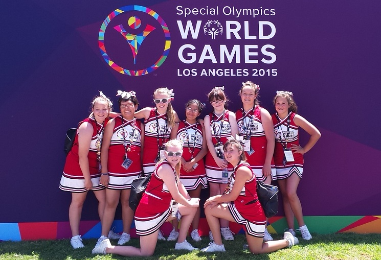 Sinagua cheerleaders perform at the 2015 Special Olympics World Games SinaguaCheerleadersNearSign509