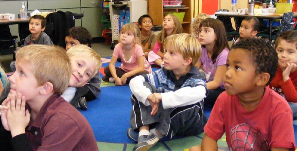 Students At Sunrise Elementary School Listen During Class.