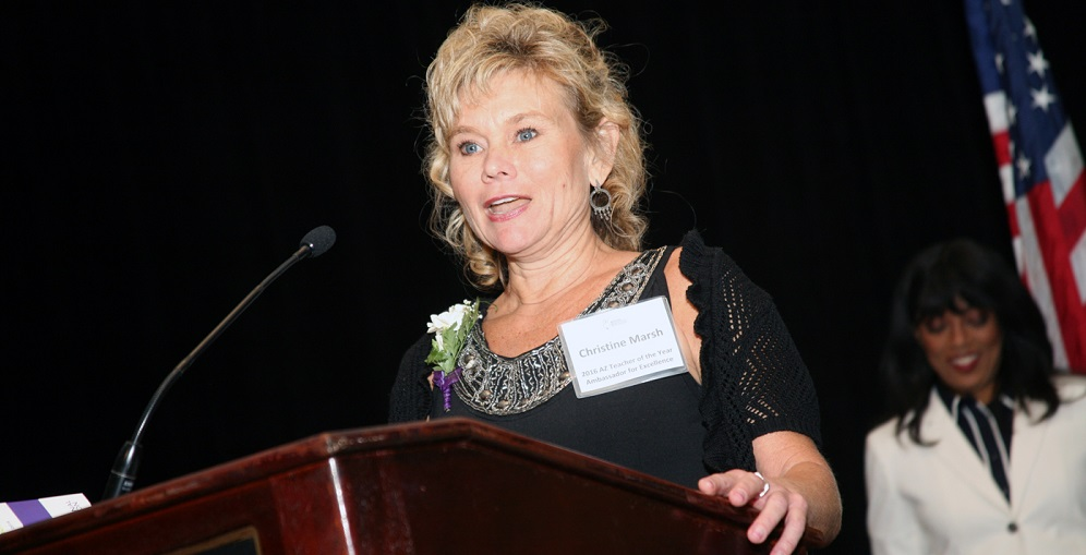 Arizona Educational Foundation's 2016 Arizona Teacher Of The Year Christine Marsh Gives Her Speech At The Awards Luncheon. Photo Courtesy Arizona Educational Foundation