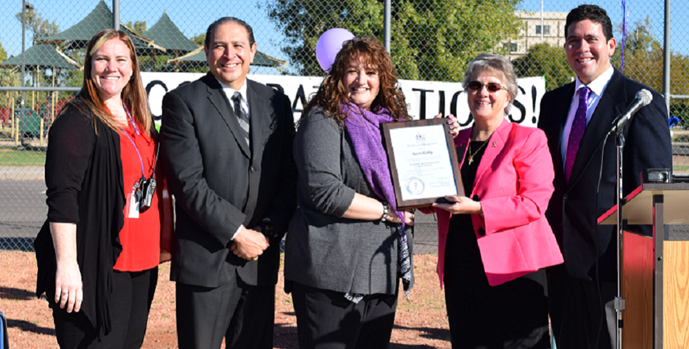 From Left To Right: Tarver Assistant Principal Beth Bishop, Cartwright Superintendent Dr. Jacob A. Chávez, ELL Teacher Of The Year Karen Hurley, Arizona Superintendent Of Public Instruction Diane Douglas, And Tarver Principal Jaimie Soto Honor Hurley On Being Named Arizona's 2015 ELL Teacher Of The Year. Photo Courtesy Cartwright Elementary School District.