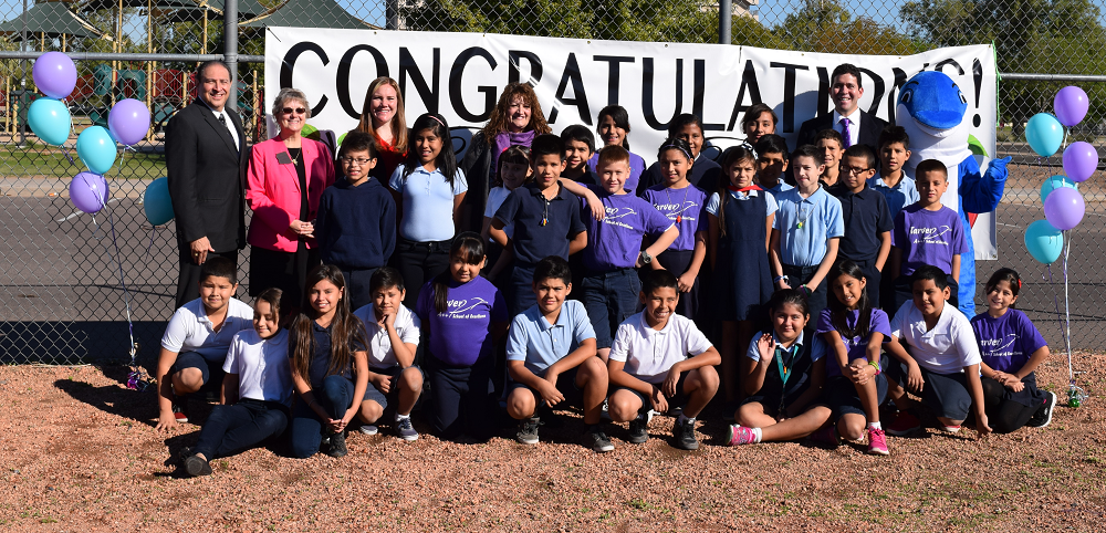 Cartwright teacher named ELL Teacher of the Year KarenHurleyAndStudents