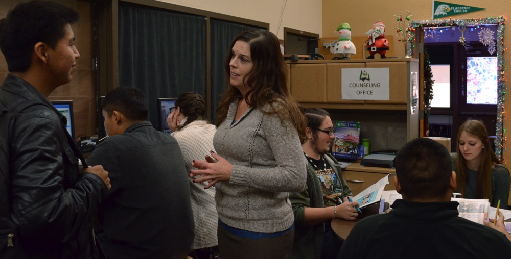2016 School Counselor Of The Year Katherine Pastor Talks To A Student In The Counseling Office At Flagstaff High School. Photo Courtesy Flagstaff Unified School District