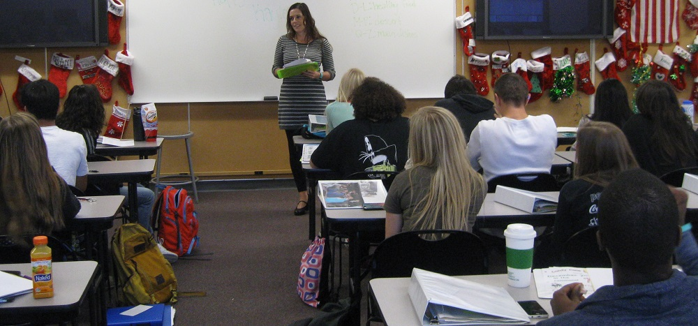 Flagstaff High School Counselor Katherine Pastor Talks With Students During Class. Photo Courtesy Flagstaff Unified School District