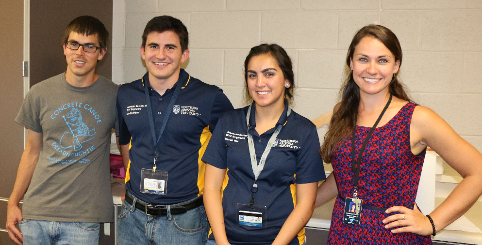 NAU Engineering Majors, From Left, Ryan Marshall, Charlie Wilson And Mariah Paz With Sinagua Middle School Teacher Gretchen Downey.