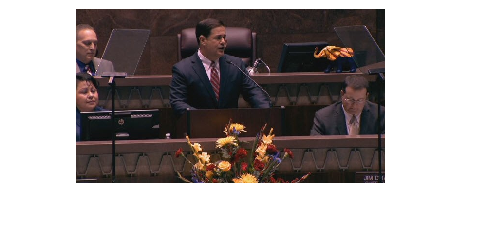 Arizona Governor Doug Ducey Delivers His Arizona State Of The State Address January 11, 2016 At The Arizona State Legislature. Photo Courtesy Of CBS 5 KPHO.
