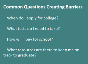 Groups breaking down barriers to college attendance (+ Infographic) QuestionsCreatingBarriersSidebar-300x219