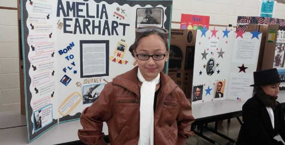 "Students At Dawson Elementary School Put On A ""living Wax Museum."" The Students Put Up About 100 Displays, Each One In Costume As Their Favorite Heroes From History. Some Included Amelia Earhart, Neil Armstrong And George Washington. Photo Courtesy Kiii News"