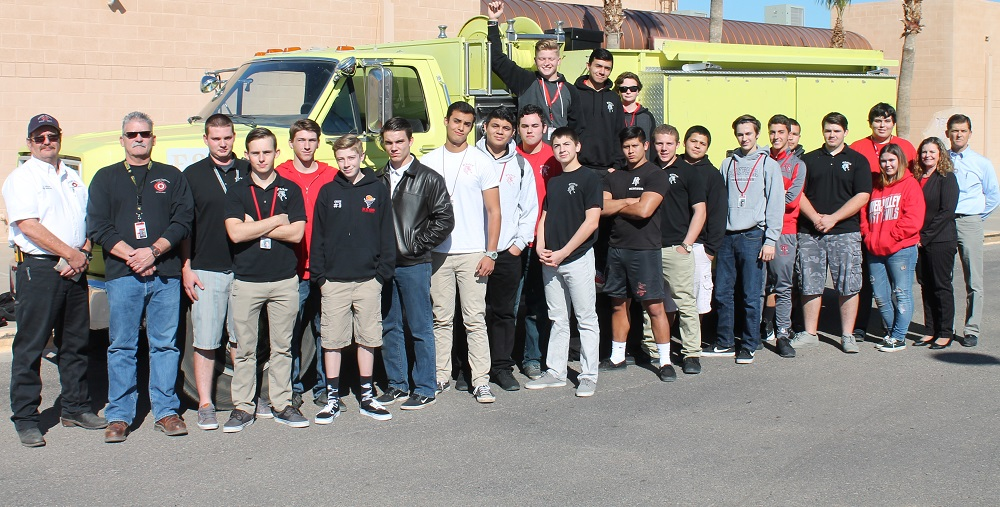 Students Enrolled In The Fire Science Program At River Valley High School Are Pictured In Front Of A Pumper Truck Donated By The Mohave Valley Fire Department To The Colorado River Union High School District. At Far Left: Mohave Valley Fire Marshal Don Gibson, Fire Science Teacher Dale Stanfield; At Far Right, Career Technical Education Director Gina Covert, RVHS Vice Principal Ivan Brown. (Photo Courtesy Colorado River Union High School District)