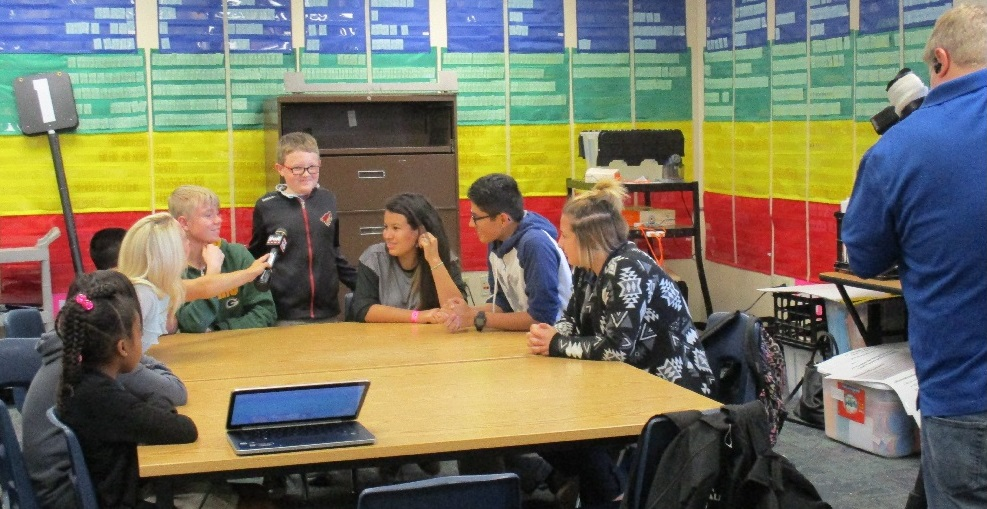 Fox 10's Danielle Miller Interviews Students From Laveen's Desert Meadows School. Photo Courtesy Of Laveen Elementary School District