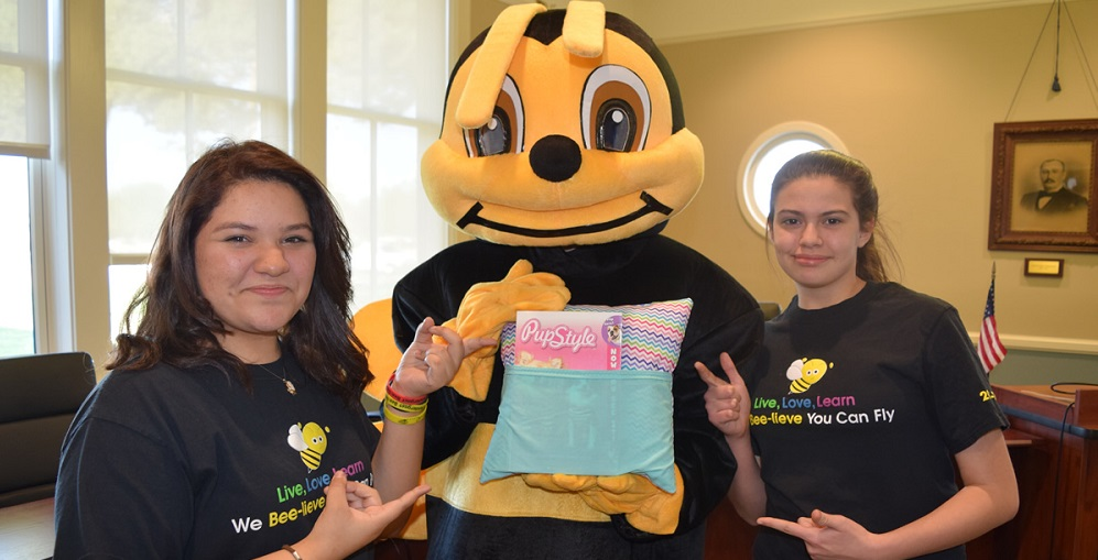 Pendergast Students Show Off What The Completed Pillow Will Look Like. Photo Courtesy Pendergast School District