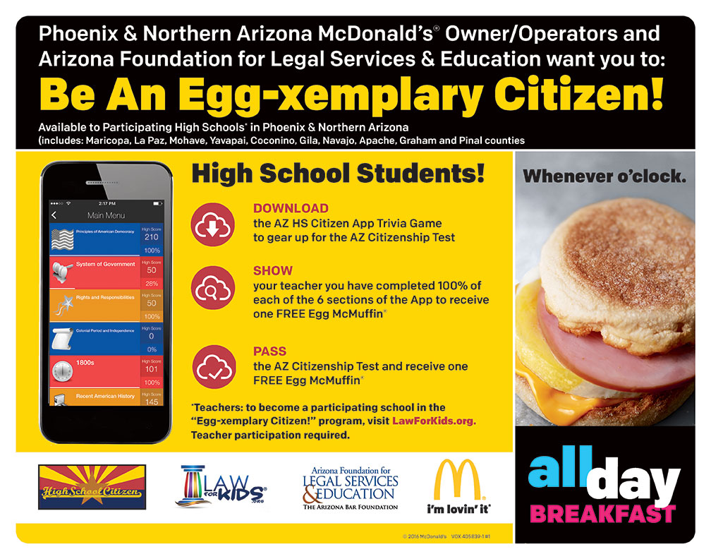 McDonald's®, foundation team up to help students pass Arizona Citizenship Test 405839-1-1_Phx-No-AZ-HS-Citizen-HR
