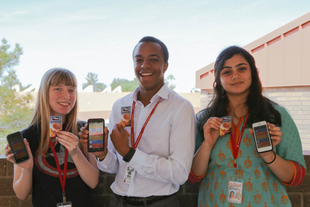 "–Tempe's Corona Del Sol High School Students And ""We The People"" Civic Competition State Champions, Katie Bradshaw, Alex Butler And Manas Subbaraman, Completed The AZ HS Citizen Trivia Game App, Part Of The New Reward Program By AZ Bar Foundation And McDonald's That Will Teach Students The Required Knowledge For The Arizona Citizenship Test. Photo Courtesy McDonald's"