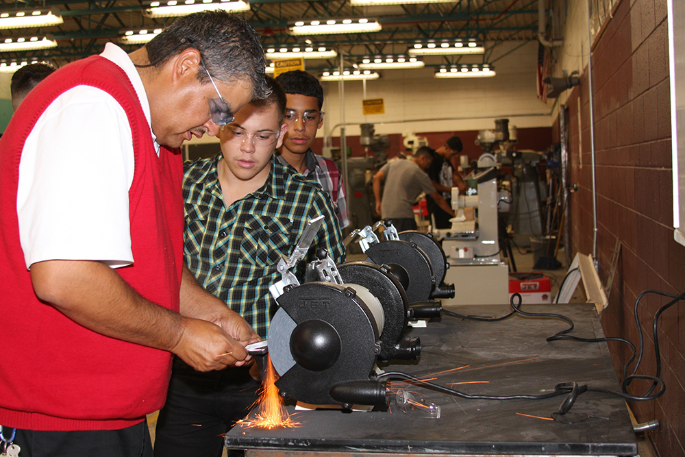 Precision manufacturing opens students' career, college pathways CesarAndStudentsMachining