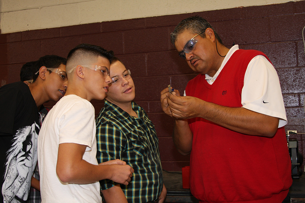 Precision manufacturing opens students' career, college pathways Students-and-Cesar-2