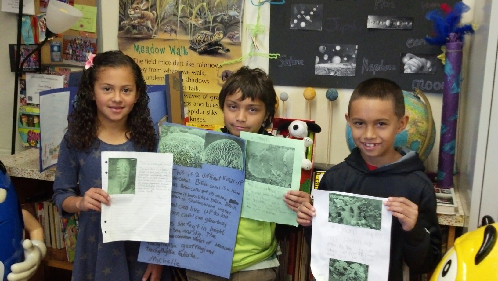 Winslow third-graders create coral reef project MiaDominicMarcelCoralScienceProject