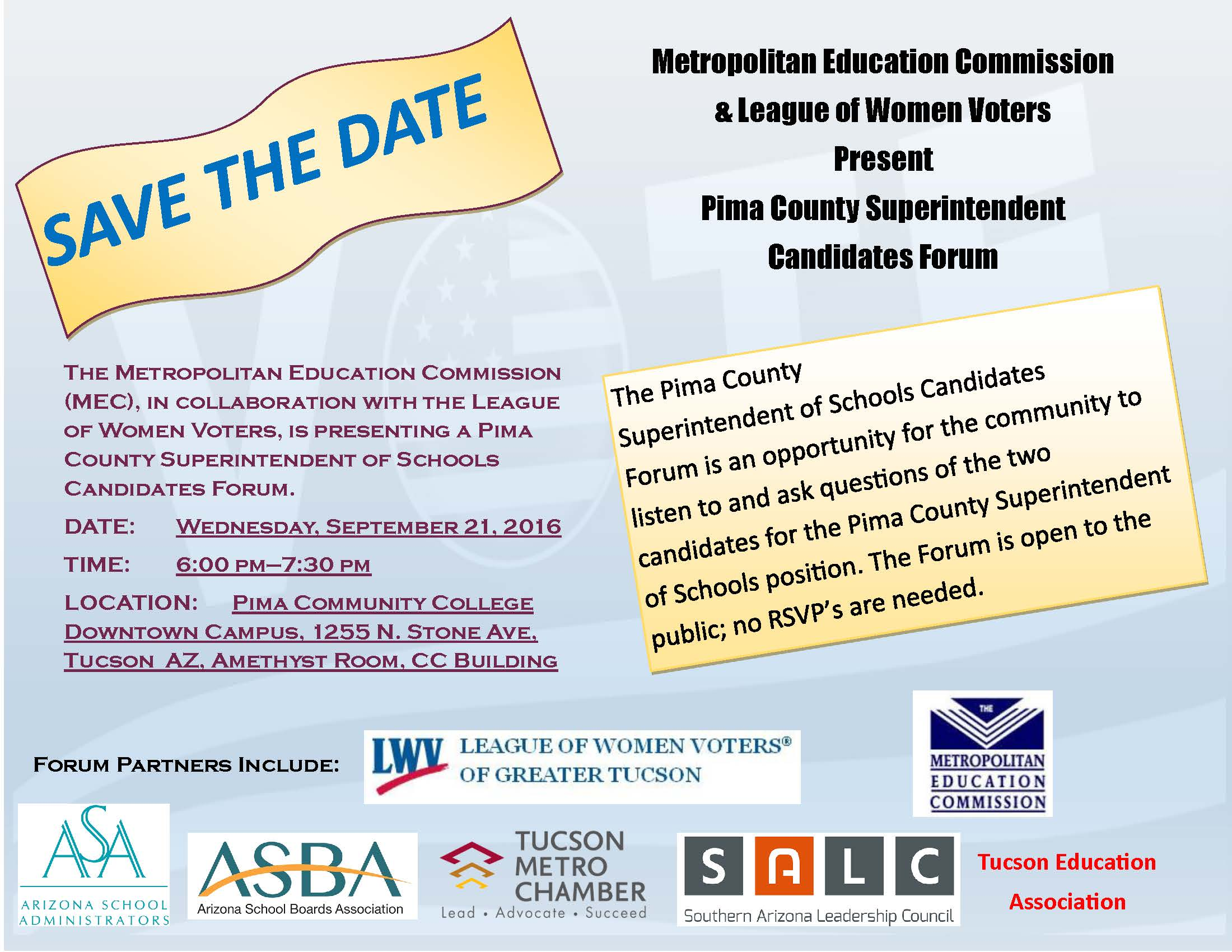 Public invited to Pima County Superintendent of Schools candidates forum Flyer-MEC-League-of-Women-Voters-Candidates-Forum-JPG