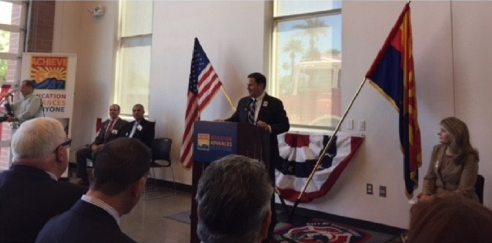 Arizona Gov. Doug Ducey Speaks At The Achieve60AZ Press Conference On Friday, Sept. 16 At Franklin Police And Fire High School In Phoenix As Eileen Klein, President Of The Arizona Board Of Regents Looks On. Photo By Tracey Benson/AZEdNews