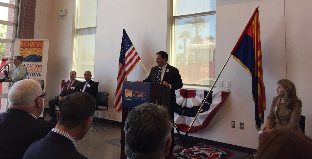 Arizona Gov. Doug Ducey Speaks At The Achieve60AZ Press Conference On Friday, Sept. 16 At Franklin Police And Fire High School In Phoenix As Eileen Klein, President Of The Arizona Board Of Regents Looks On. Photo By AZEdNews