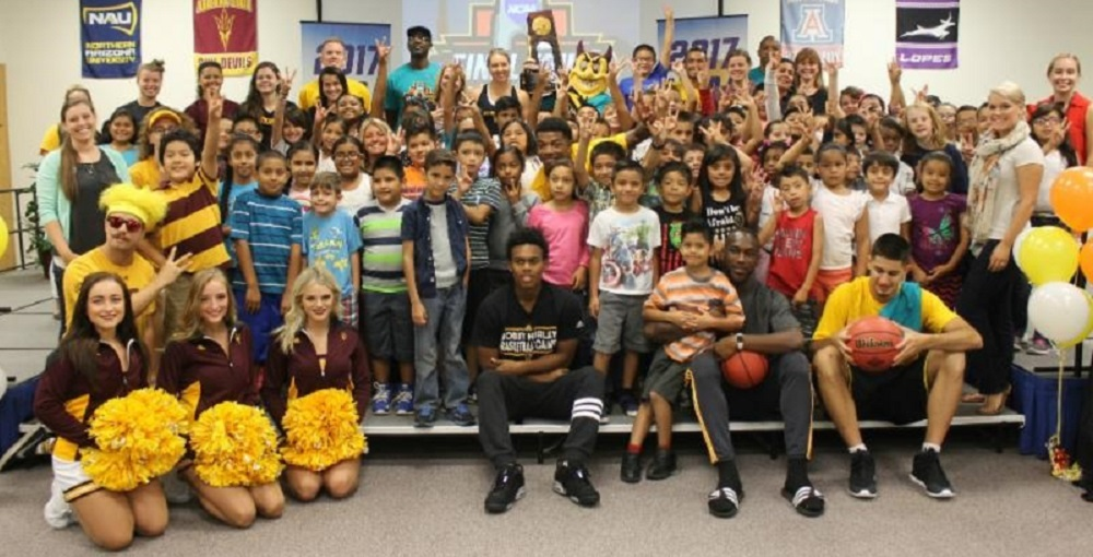 Loma Linda Elementary School Students Were Given Backpacks This Morning At An Assembly With PLOC Leadership, ASU Student-athletes And Phoenix City Councilwoman Laura Pastor. Photo Courtesy Pflipsen Communications