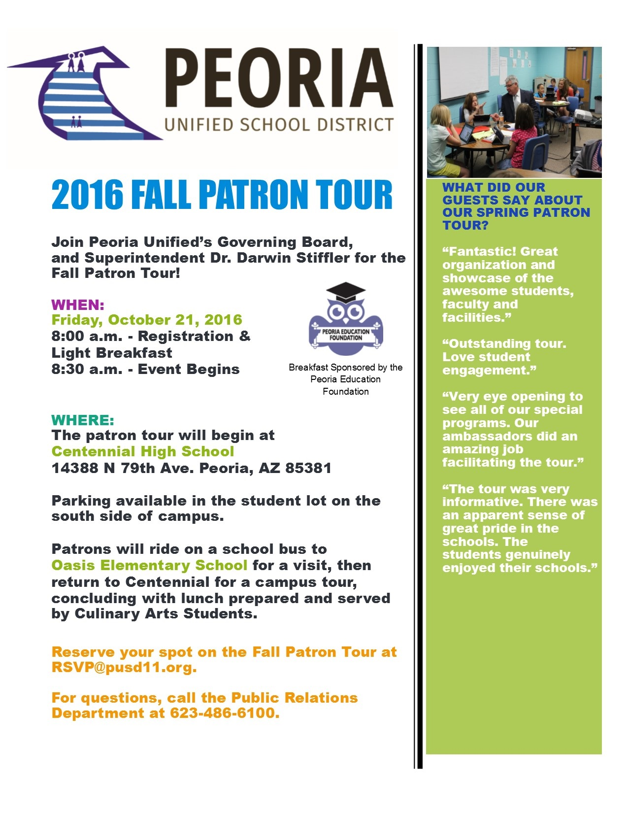 Peoria Unified invites community members to tour its schools PeoriaUnifiedPatronTourPoster